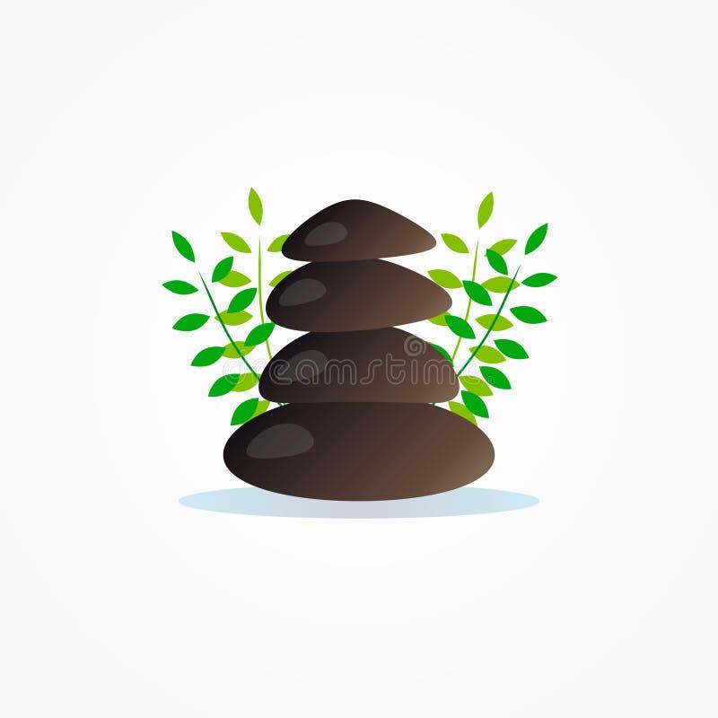 Piedra del logotipo para la compañía de la yoga stock de ilustración