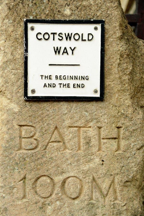 Piedra del marcador de la manera de Cotswold fotos de archivo