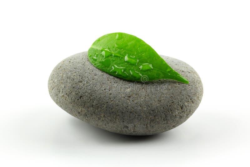 Piedra del zen con la hoja fotos de archivo