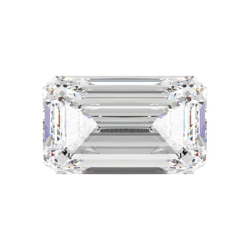 piedra esmeralda aislada ejemplo del diamante 3D ilustración del vector