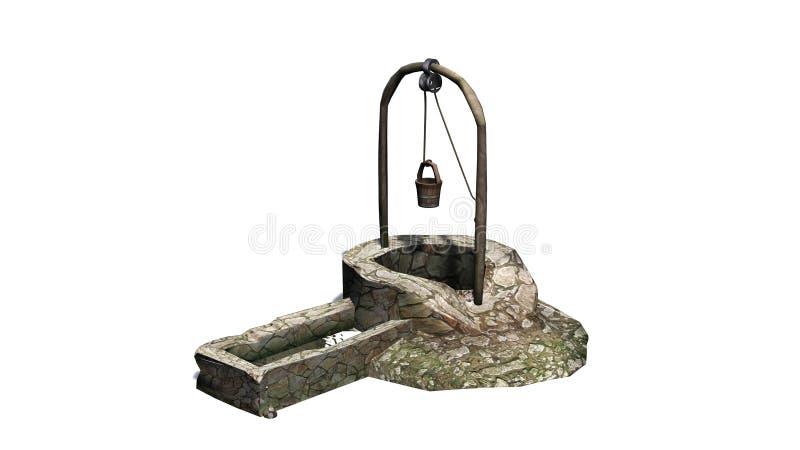 Piedra medieval vieja bien con el lavabo del agua ilustración del vector