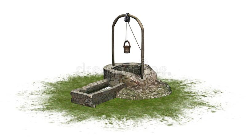 Piedra medieval vieja bien con el lavabo del agua en una zona verde libre illustration