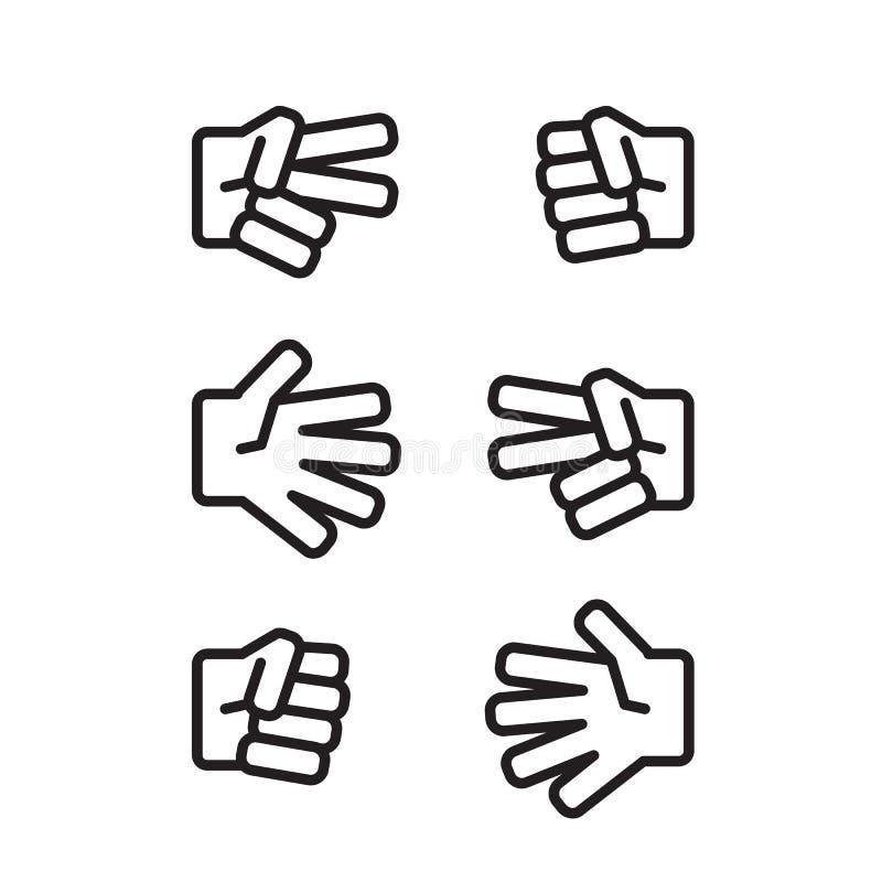 Piedra papel o tijera del juego de los niños blanco y negro stock de ilustración