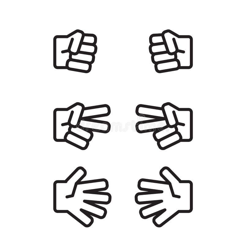 Piedra papel o tijera del juego de los niños blanco y negro ilustración del vector