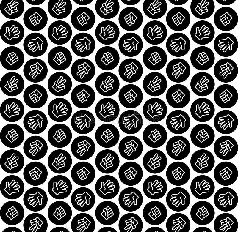 Piedra papel o tijera del juego de los niños en el modelo negro del círculo blanco y negro ilustración del vector