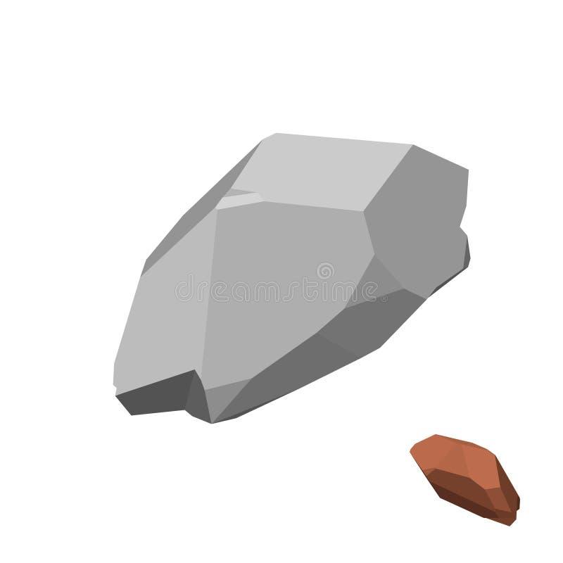Piedra poligonal Aislado en el fondo blanco Visión isométrica stock de ilustración