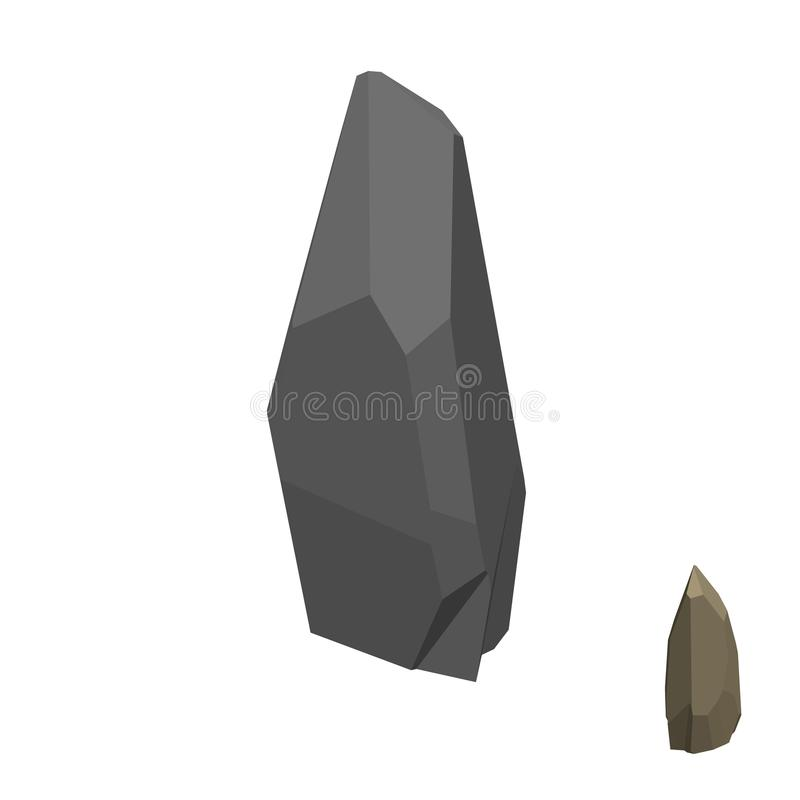 Piedra poligonal Aislado en el fondo blanco Visión isométrica ilustración del vector