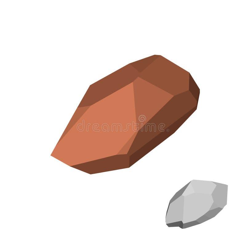 Piedra poligonal Aislado en el fondo blanco Visión isométrica libre illustration
