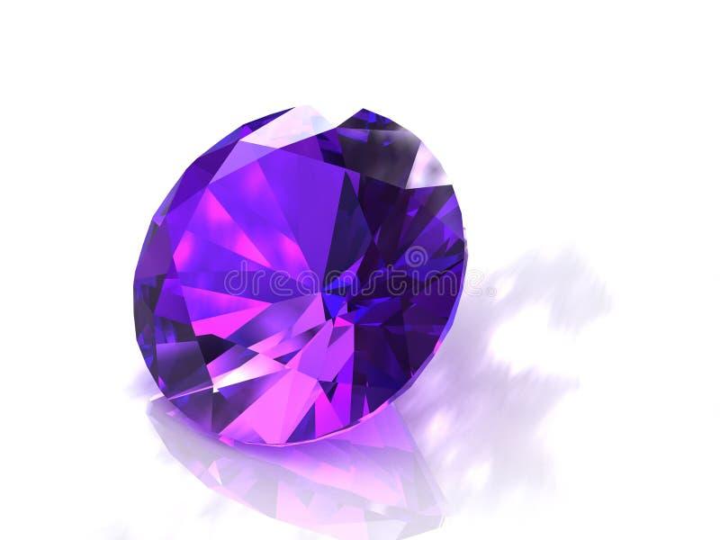 Piedra preciosa amethyst púrpura redonda grande ilustración del vector
