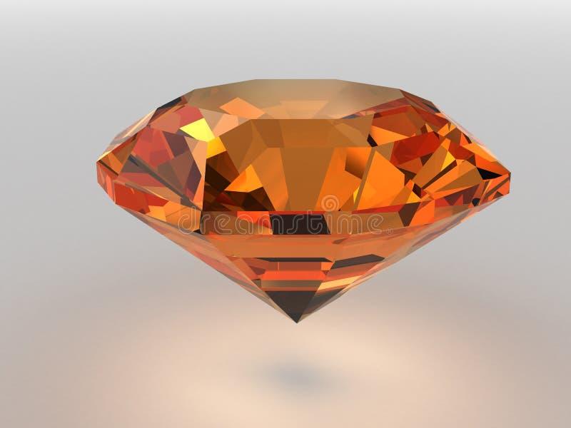 Piedra preciosa anaranjado oscuro rendida con las sombras suaves ilustración del vector