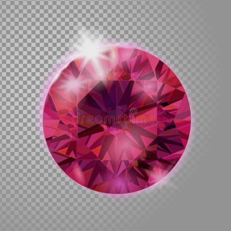 Piedra preciosa de la joyería de rubíes rosada roja cristalina de la gema 3d realista detalló el ejemplo del vector en fondo tran stock de ilustración
