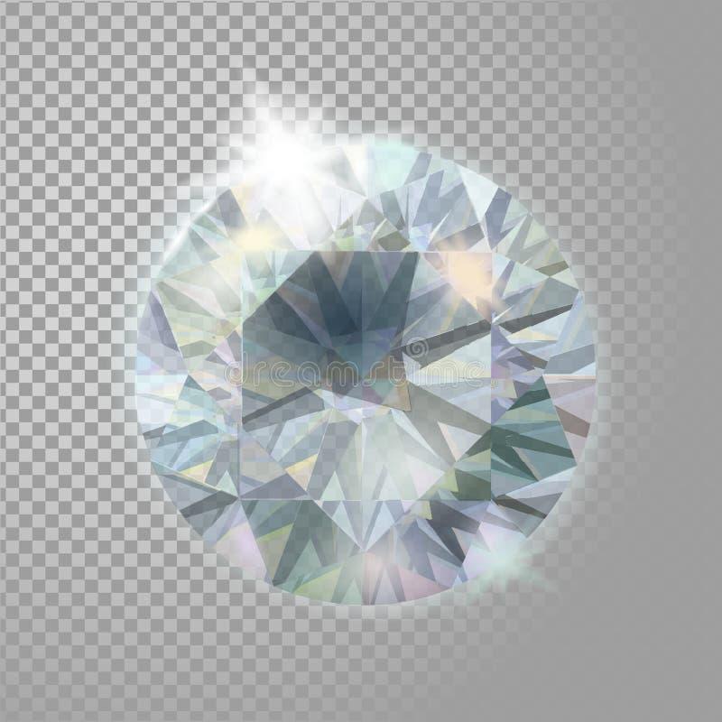 Piedra preciosa del diamante de la joyería brillante cristalina de la gema Ejemplo detallado realista del vector 3d en transparen ilustración del vector