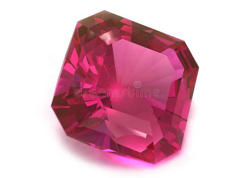 Piedra preciosa del rubí o de Rodolite ilustración del vector