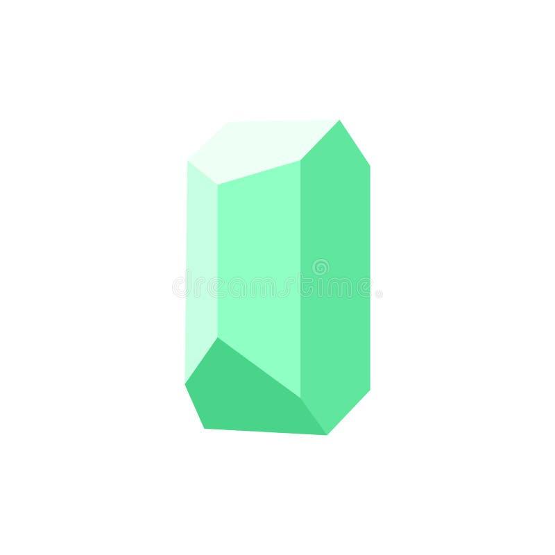 Piedra preciosa, piedra colorida del diamante en el fondo blanco stock de ilustración