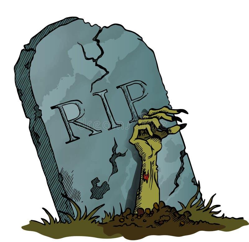 Piedra sepulcral con la mano del zombi stock de ilustración
