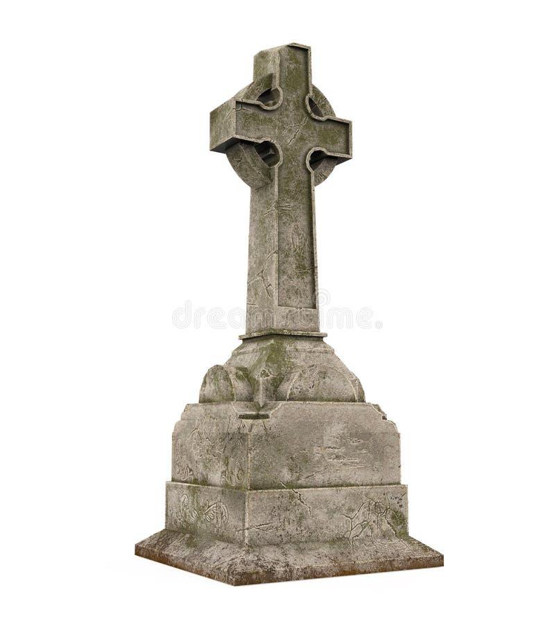Piedra sepulcral cruzada aislada libre illustration
