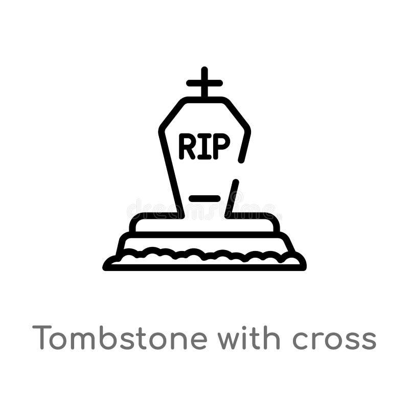 piedra sepulcral del esquema con el icono cruzado del vector línea simple negra aislada ejemplo del elemento del otro concepto Ve ilustración del vector