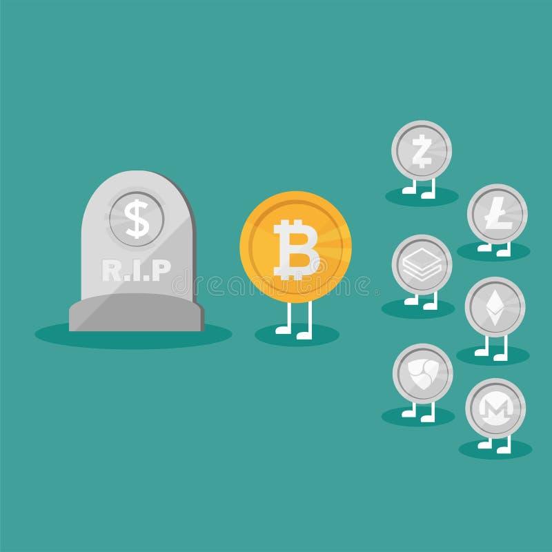 Piedra sepulcral del icono de la moneda del dólar plana Dinero real contra el dinero virtual de Bitcoin - Crypto libre illustration