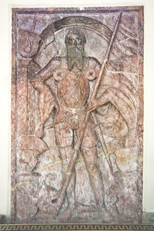 Piedra sepulcral medieval en Austria imagen de archivo