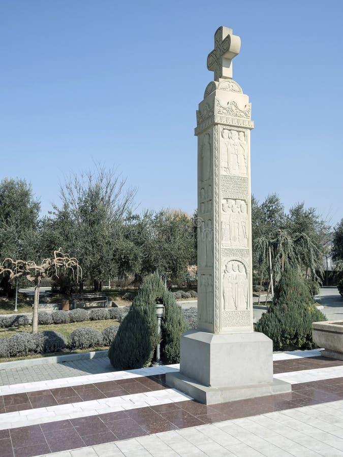Piedra Stella en el territorio de la catedral de la trinidad santa en Tbilisi imagen de archivo libre de regalías