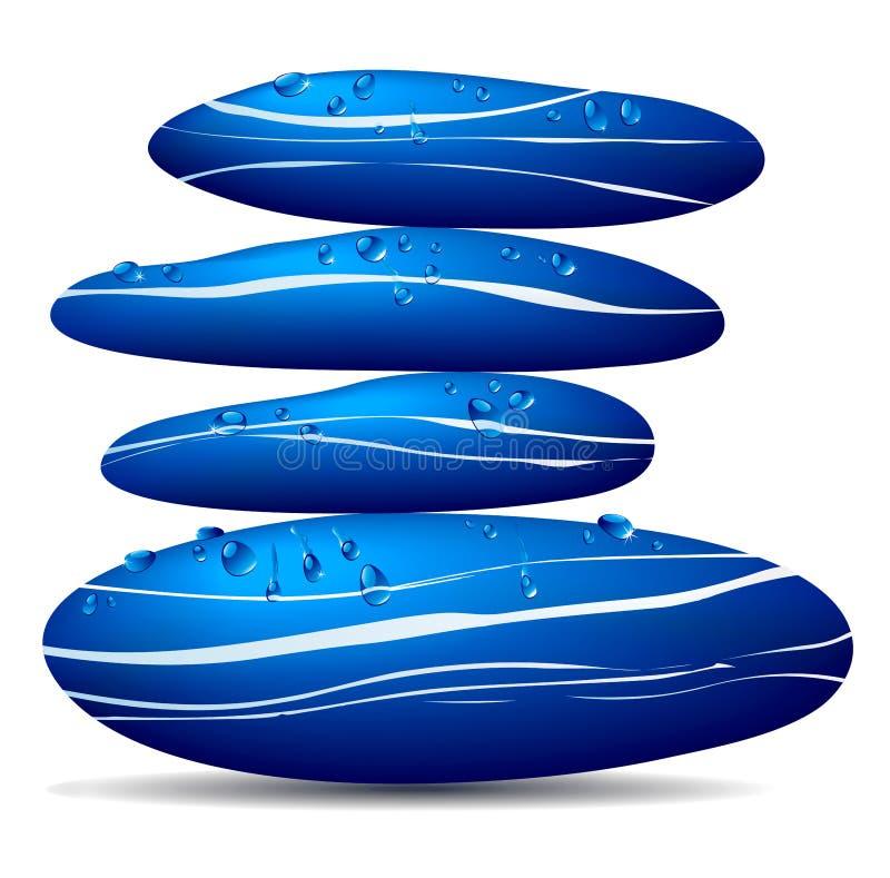 Piedras azules con las gotitas de agua libre illustration
