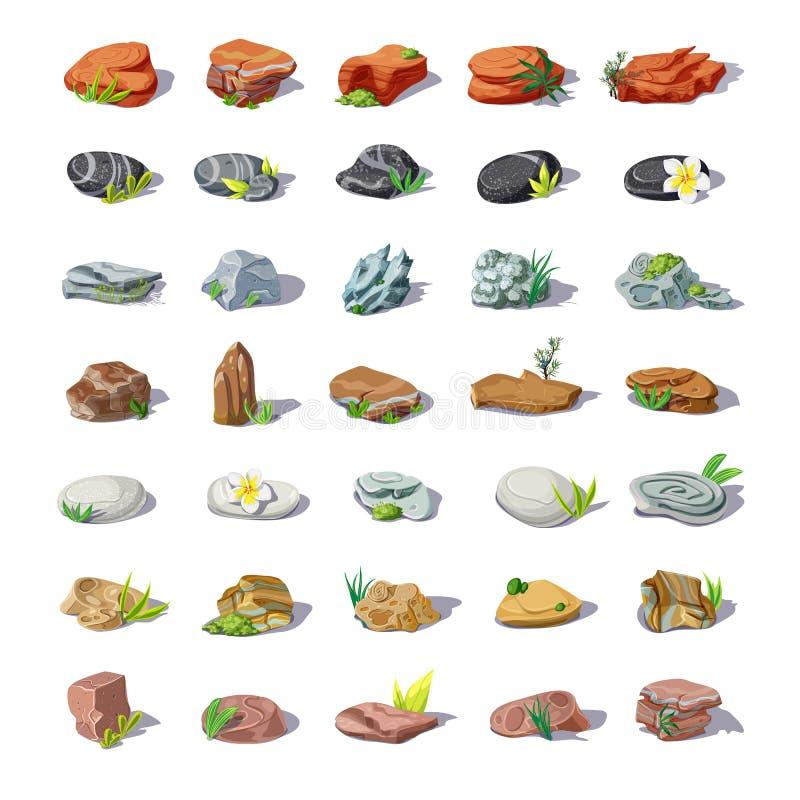 Piedras coloridas de la historieta fijadas libre illustration