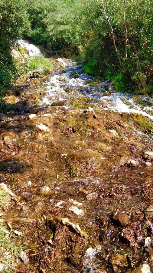Piedras con las hojas de otoño en el río con agua borrosa fotos de archivo libres de regalías