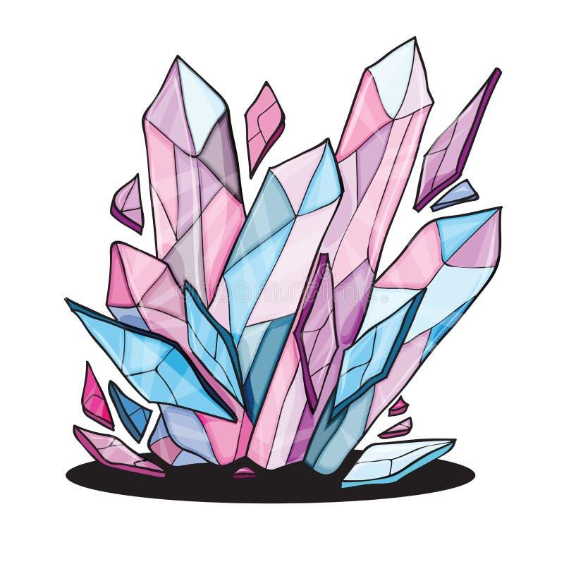 Piedras cristalinas hermosas para el diseño libre illustration