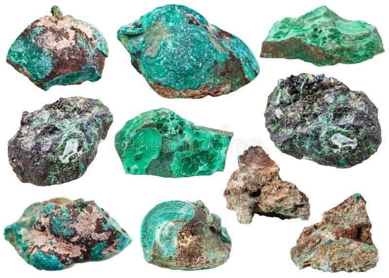 Piedras de gema minerales de la diversa malaquita aisladas fotografía de archivo libre de regalías