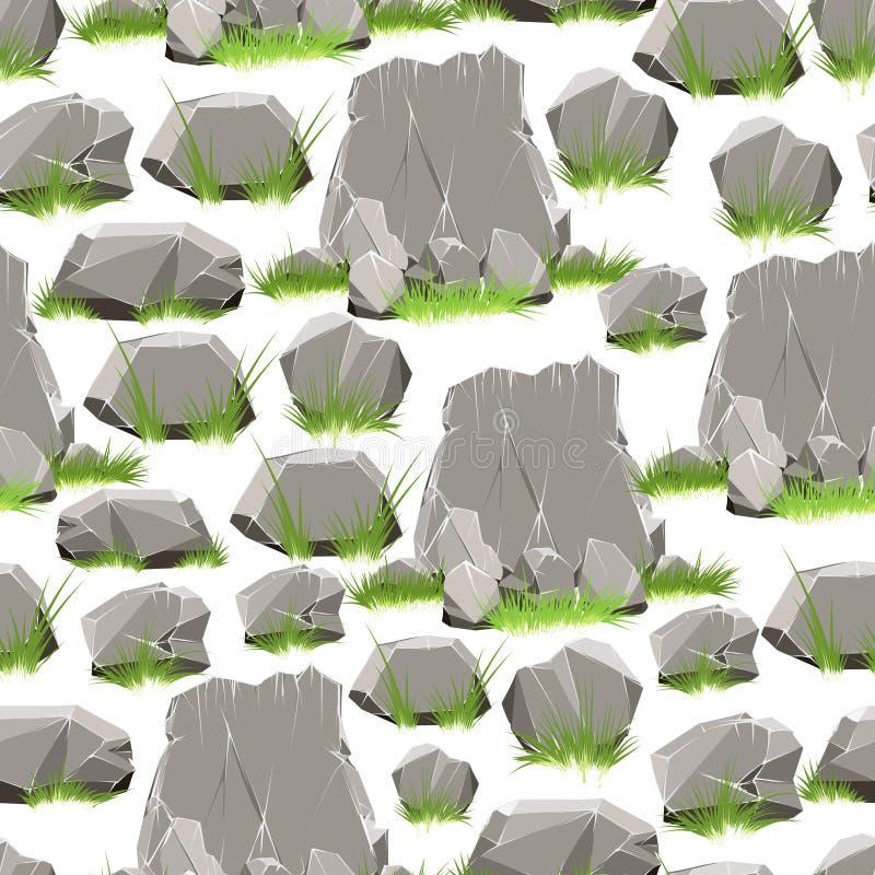 Piedras de la historieta con el modelo inconsútil de la hierba stock de ilustración