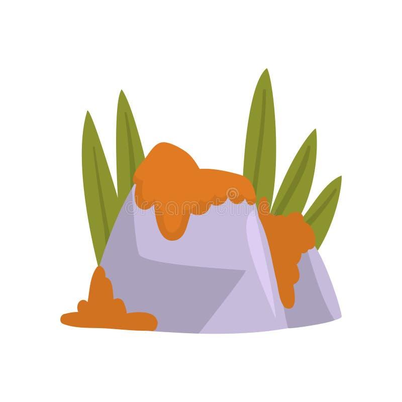 Piedras de la roca con el musgo anaranjado y la hierba verde, ejemplo natural del vector del elemento del diseño del paisaje ilustración del vector