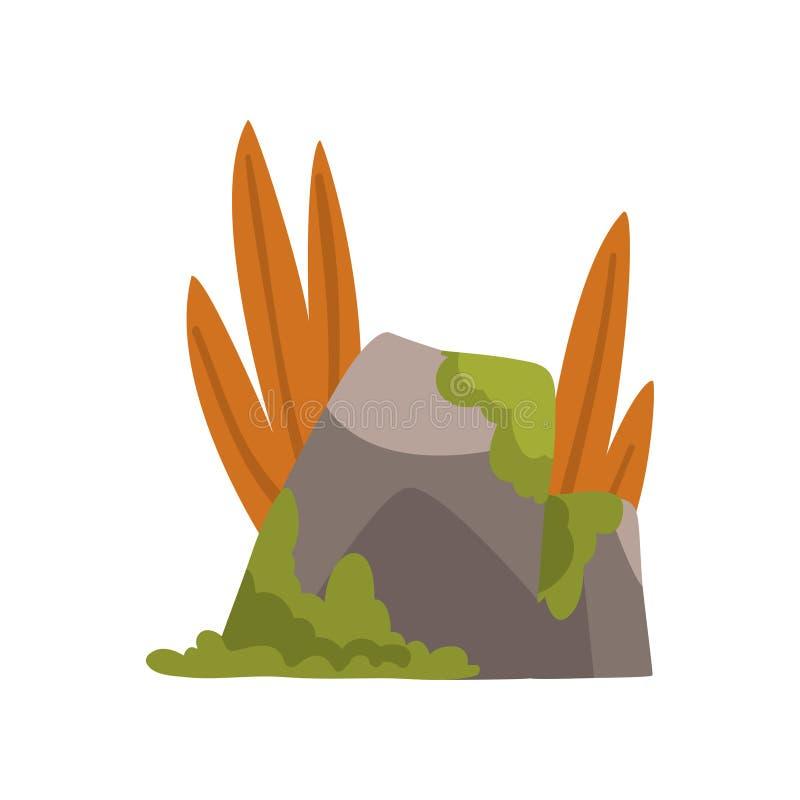 Piedras de la roca con el musgo y la hierba, bosque, ejemplo natural del vector del elemento del diseño del paisaje de la montaña libre illustration