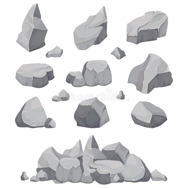Piedras de la roca La piedra, el carbón y las rocas del grafito llenan el ejemplo aislado del vector stock de ilustración