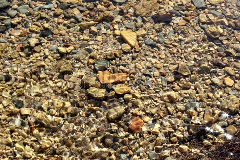 Piedras debajo del agua, de las ondulaciones del agua y de las pequeñas piedras en el agua fotos de archivo