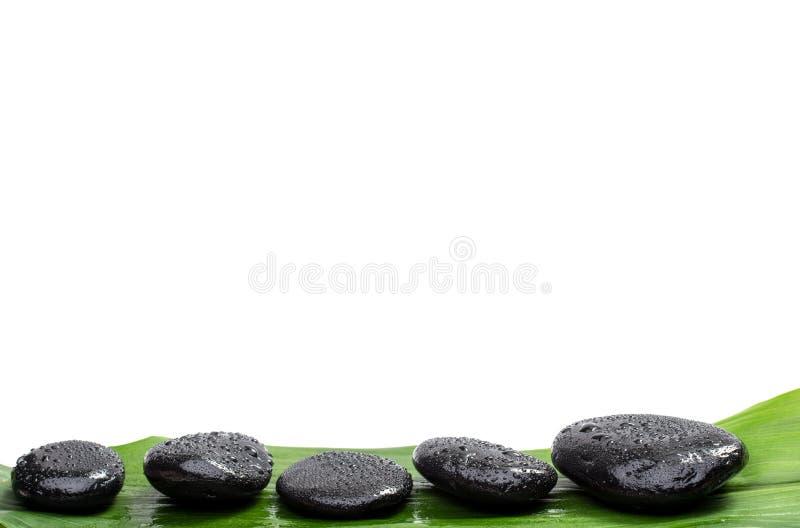 Piedras del balneario en la hoja verde imágenes de archivo libres de regalías