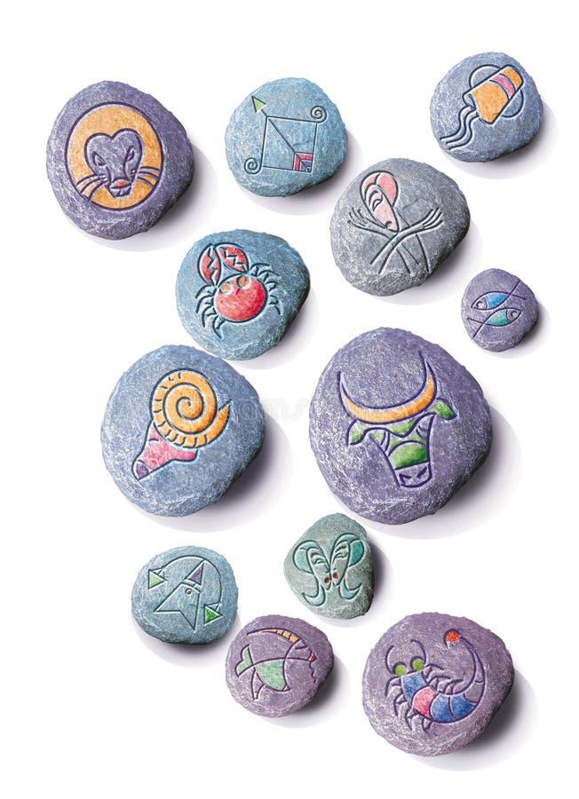 Piedras del horóscopo stock de ilustración