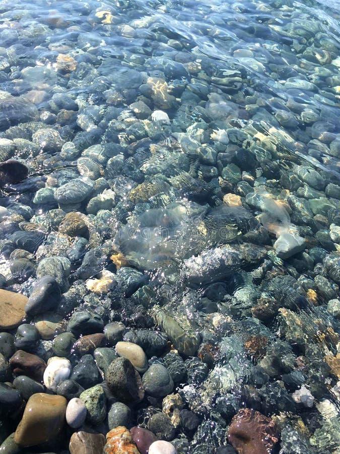 Piedras del mar en agua de mar limpia Guijarros bajo el agua imagen de archivo libre de regalías