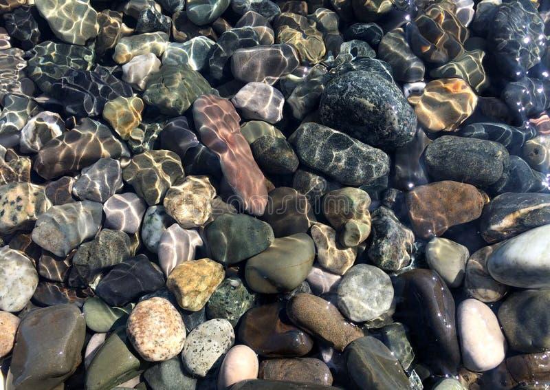 Piedras del mar en agua de mar limpia Guijarros bajo el agua imagenes de archivo