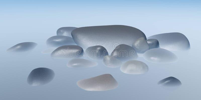 Piedras del mar en la niebla imagen de archivo