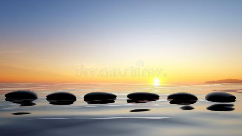 Piedras del zen en el agua stock de ilustración
