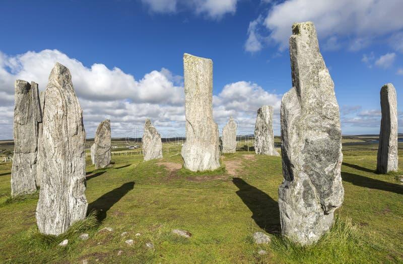 Piedras derechas de Callanish: círculo de piedra neolítico en la isla de Lewis, Escocia imagen de archivo libre de regalías