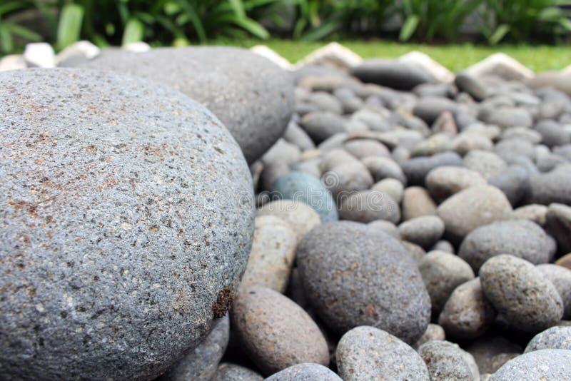 Piedras grandes entre guijarros más pequeños, en el jardín fotos de archivo
