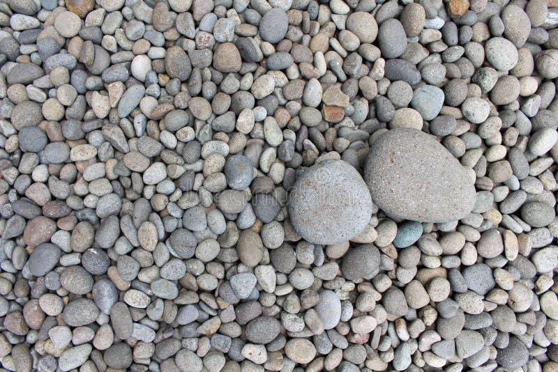 Piedras grandes entre guijarros más pequeños, en el jardín imagenes de archivo