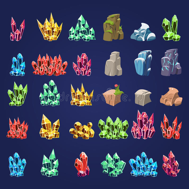 Piedras minerales de la historieta fijadas stock de ilustración