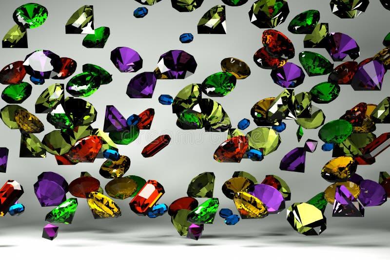 Piedras preciosas en la caída ilustración del vector