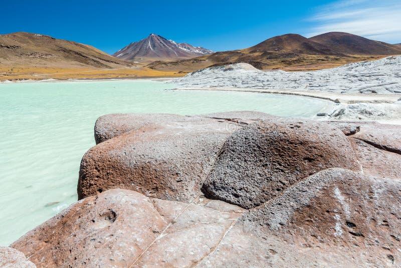 Piedras Rojas, volcano, snow, mountain, rocks, lake, white sand, turquoise water royalty free stock photos