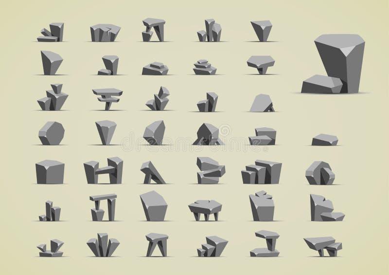 Piedras simples para crear los videojuegos stock de ilustración