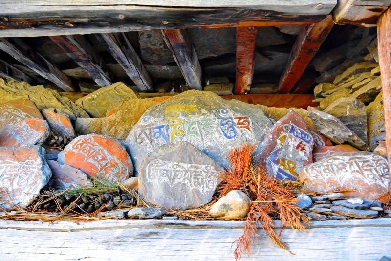Piedras tibetanas del rezo imagen de archivo libre de regalías