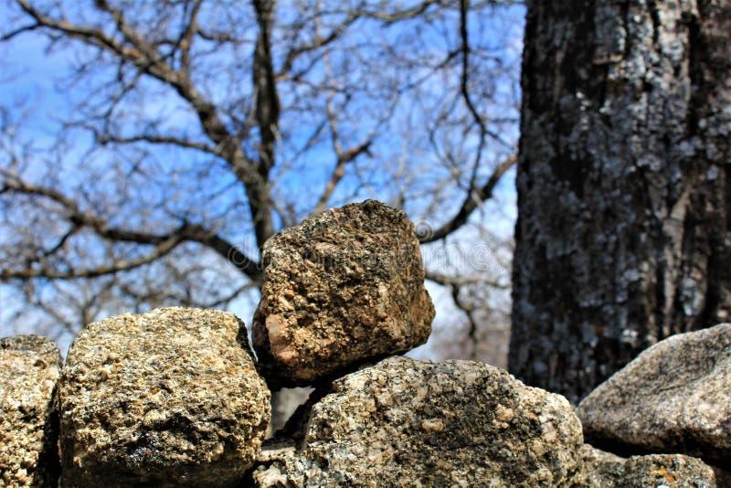 Piedras y árboles del invierno con un cielo azul imagen de archivo