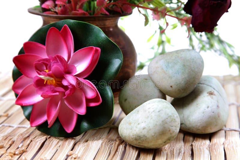 Piedras y flor del balneario imagen de archivo